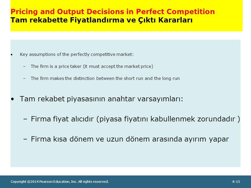 Tam rekabet piyasasının anahtar varsayımları: