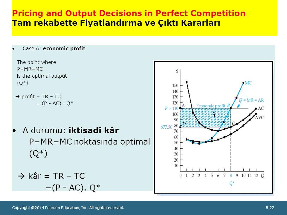 P=MR=MC noktasında optimal çıktı söz konusudur