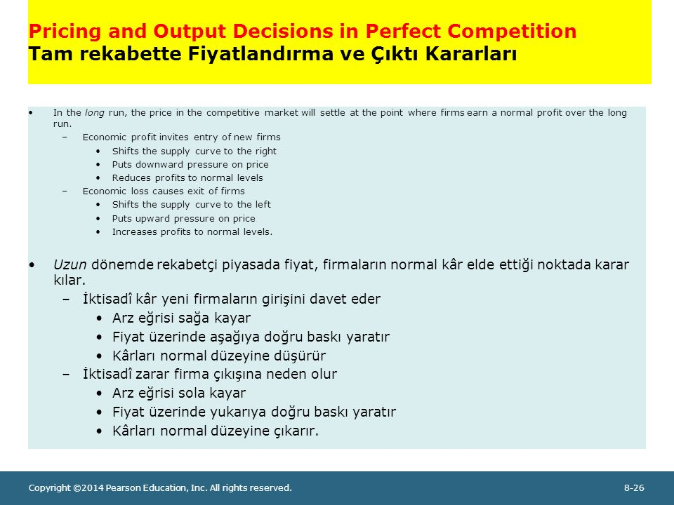 Pricing and Output Decisions in Perfect Competition Tam rekabette Fiyatlandırma ve Çıktı Kararları