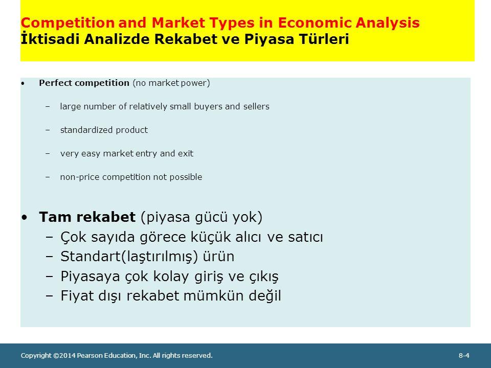 Tam rekabet (piyasa gücü yok) Çok sayıda görece küçük alıcı ve satıcı