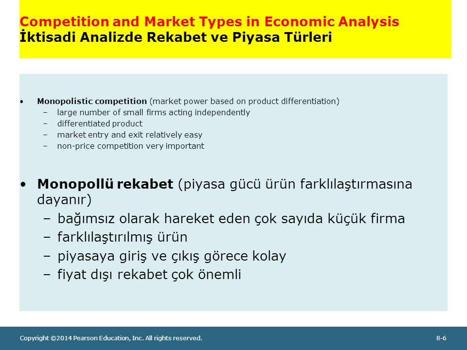 Monopollü rekabet (piyasa gücü ürün farklılaştırmasına dayanır)