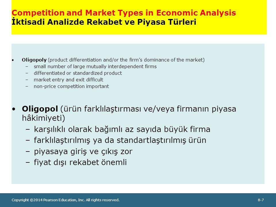 Oligopol (ürün farklılaştırması ve/veya firmanın piyasa hâkimiyeti)