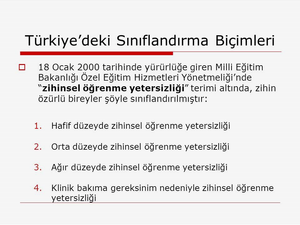 Türkiye'deki Sınıflandırma Biçimleri