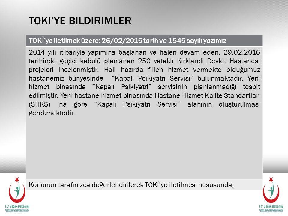 Toki'ye bildirimler TOKİ'ye iletilmek üzere: 26/02/2015 tarih ve 1545 sayılı yazımız.