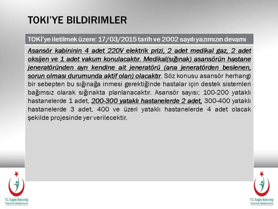 Toki'ye bildirimler TOKİ'ye iletilmek üzere: 17/03/2015 tarih ve 2002 sayılı yazımızın devamı.