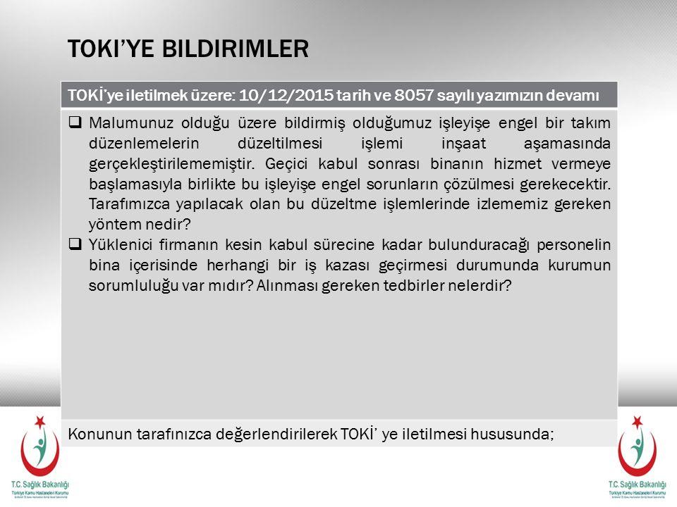 Toki'ye bildirimler TOKİ'ye iletilmek üzere: 10/12/2015 tarih ve 8057 sayılı yazımızın devamı.