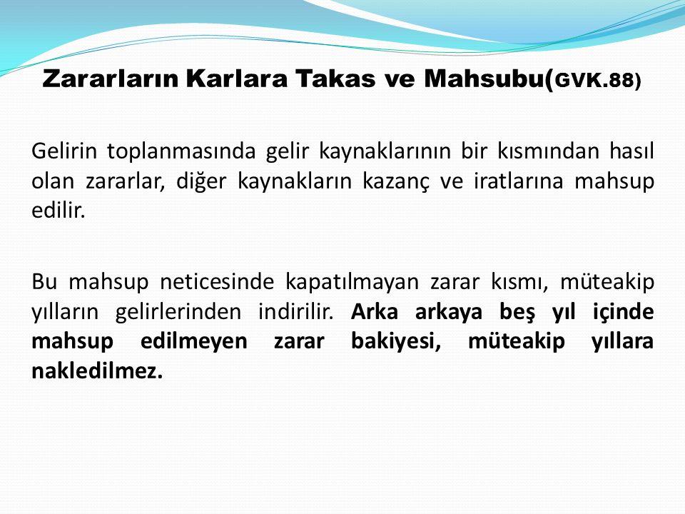 Zararların Karlara Takas ve Mahsubu(GVK