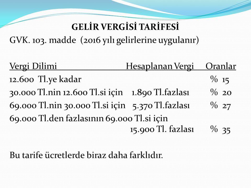 GELİR VERGİSİ TARİFESİ GVK. 103
