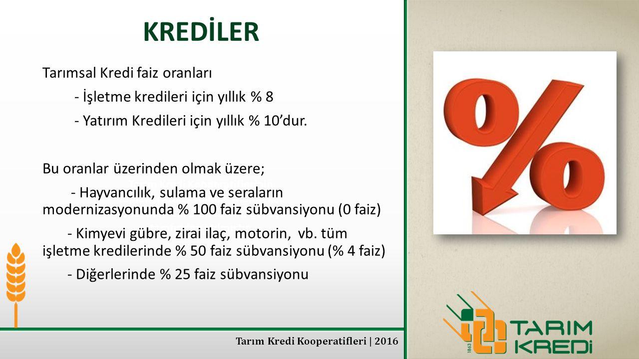 KREDİLER Tarımsal Kredi faiz oranları
