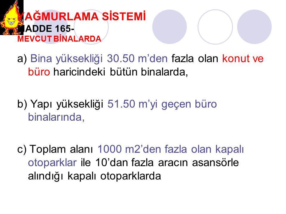 YAĞMURLAMA SİSTEMİ MADDE 165- MEVCUT BİNALARDA