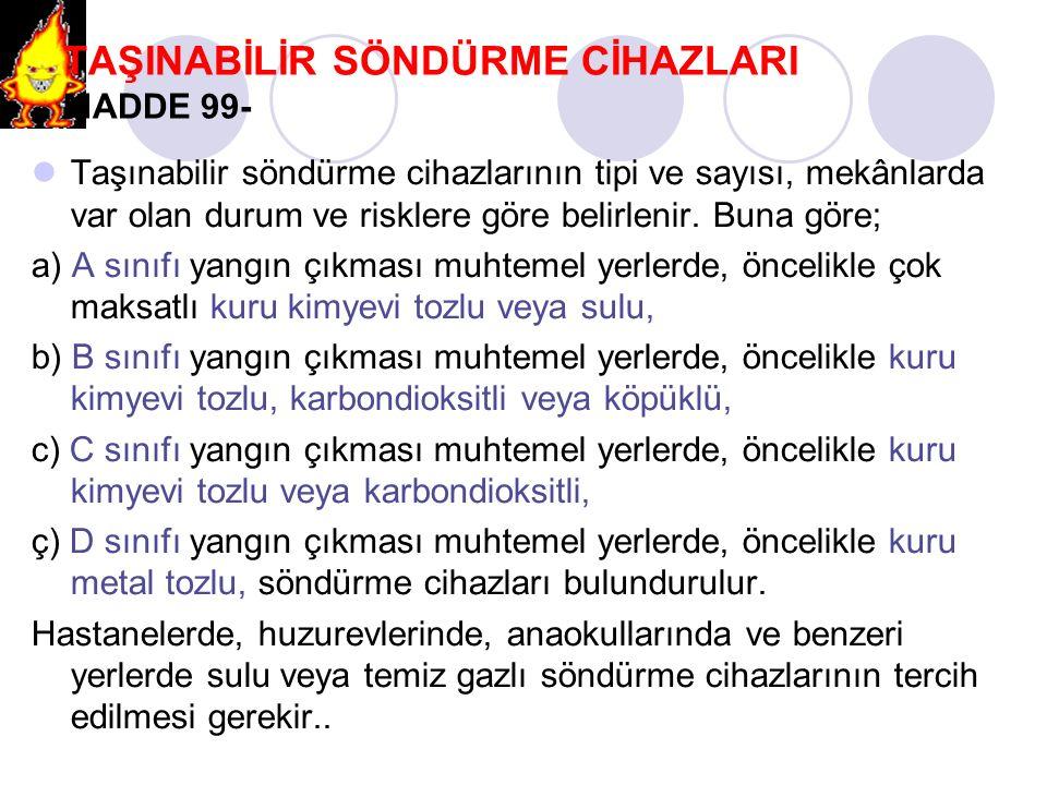 TAŞINABİLİR SÖNDÜRME CİHAZLARI MADDE 99-