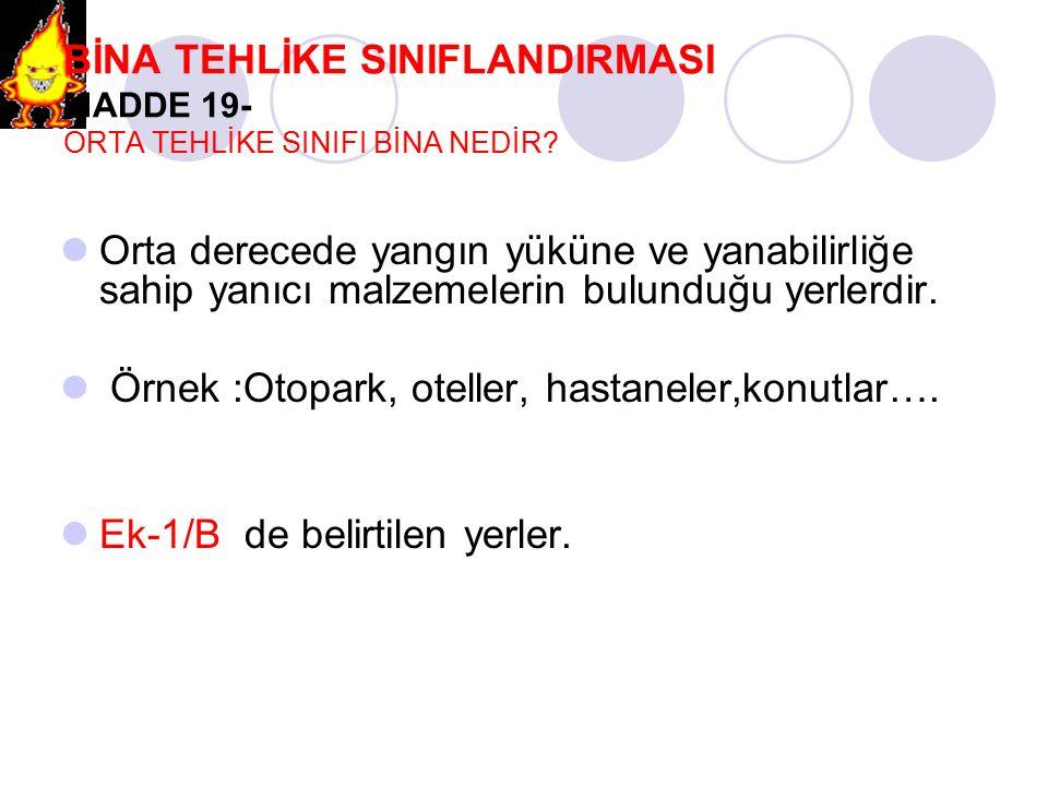 BİNA TEHLİKE SINIFLANDIRMASI MADDE 19- ORTA TEHLİKE SINIFI BİNA NEDİR