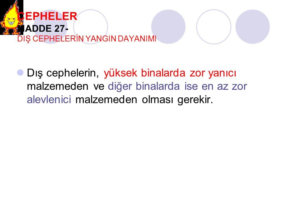 CEPHELER MADDE 27- DIŞ CEPHELERİN YANGIN DAYANIMI