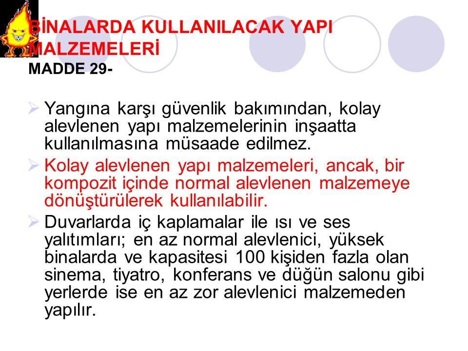 BİNALARDA KULLANILACAK YAPI MALZEMELERİ MADDE 29-