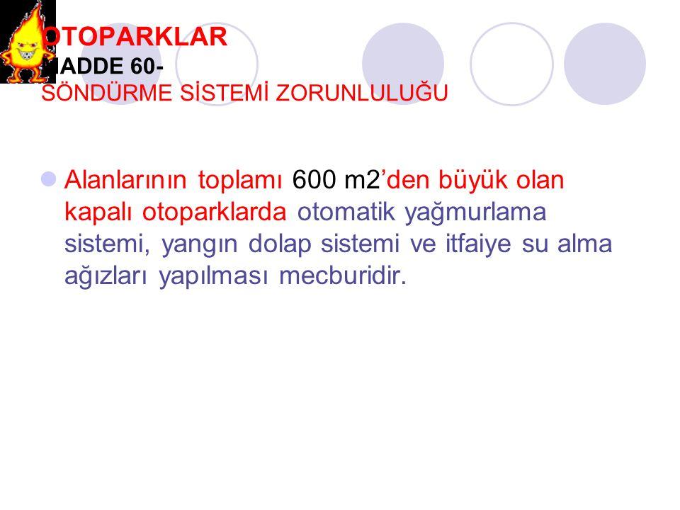 OTOPARKLAR MADDE 60- SÖNDÜRME SİSTEMİ ZORUNLULUĞU