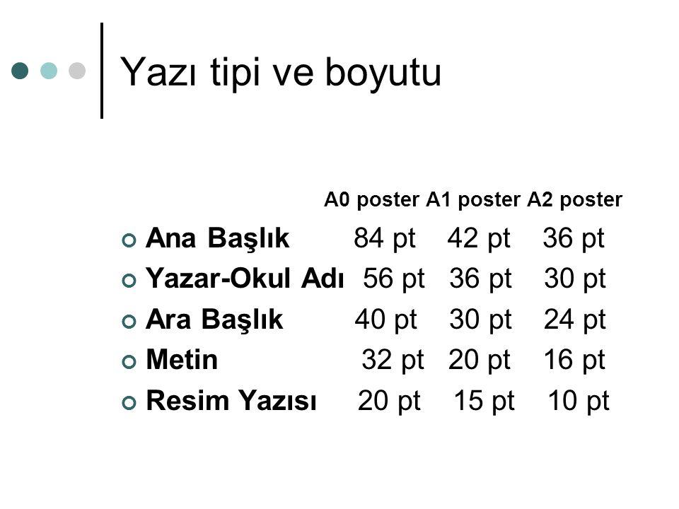 Yazı tipi ve boyutu A0 poster A1 poster A2 poster