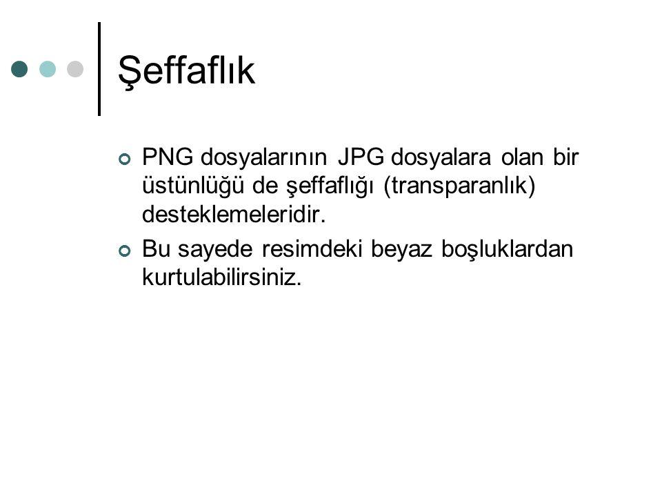 Şeffaflık PNG dosyalarının JPG dosyalara olan bir üstünlüğü de şeffaflığı (transparanlık) desteklemeleridir.