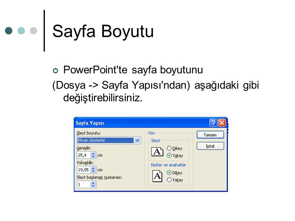 Sayfa Boyutu PowerPoint te sayfa boyutunu