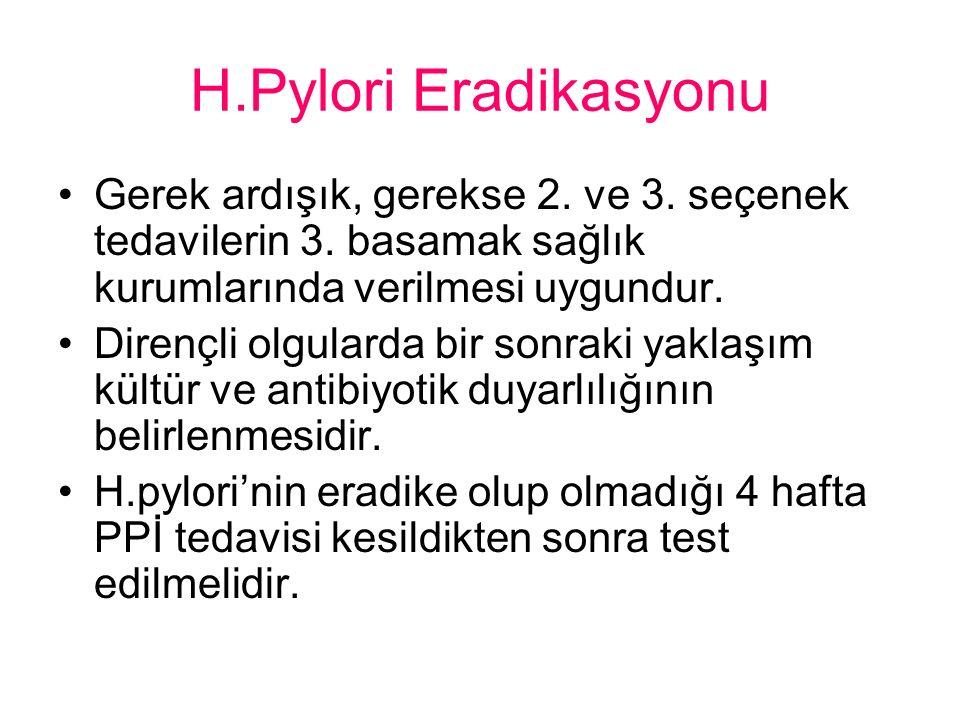 H.Pylori Eradikasyonu Gerek ardışık, gerekse 2. ve 3. seçenek tedavilerin 3. basamak sağlık kurumlarında verilmesi uygundur.