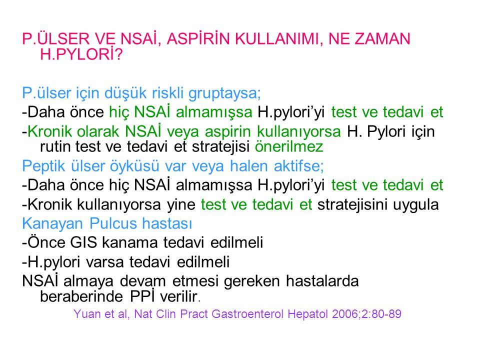 P.ÜLSER VE NSAİ, ASPİRİN KULLANIMI, NE ZAMAN H.PYLORİ
