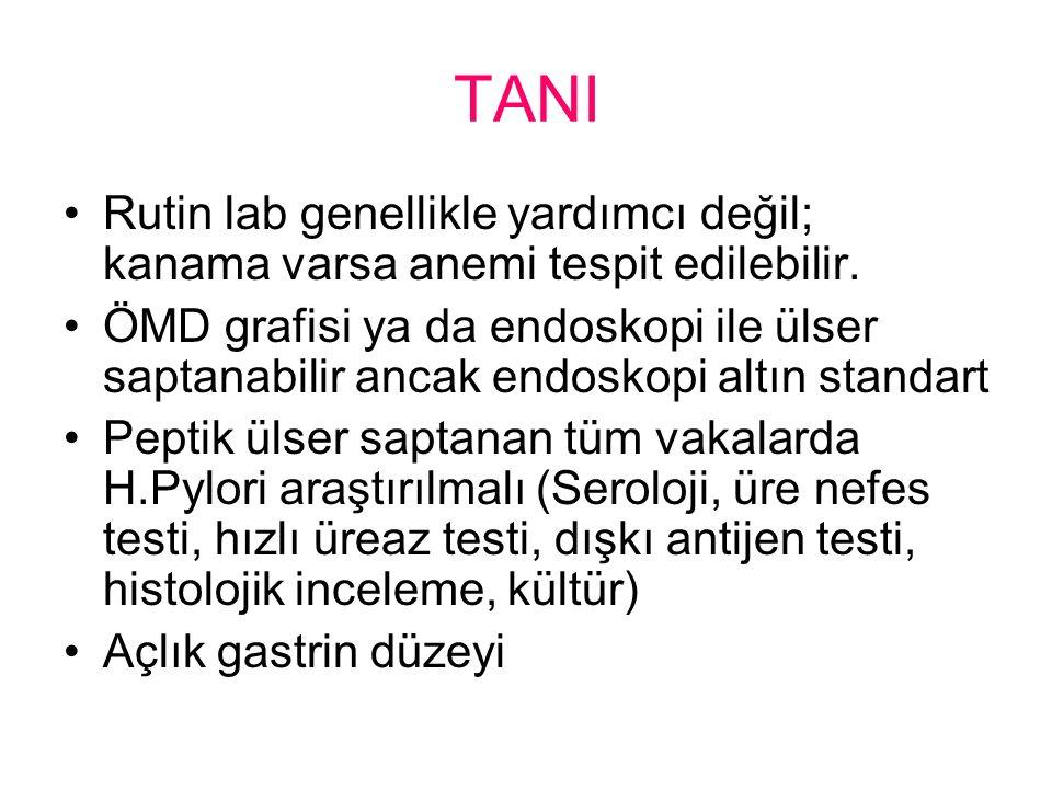 TANI Rutin lab genellikle yardımcı değil; kanama varsa anemi tespit edilebilir.