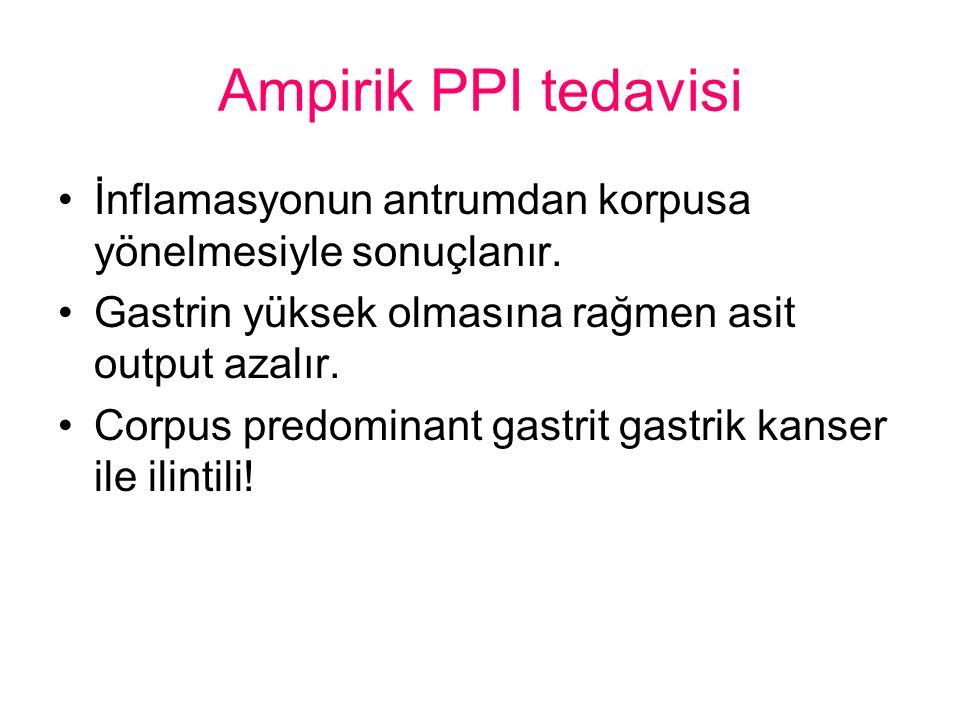Ampirik PPI tedavisi İnflamasyonun antrumdan korpusa yönelmesiyle sonuçlanır. Gastrin yüksek olmasına rağmen asit output azalır.