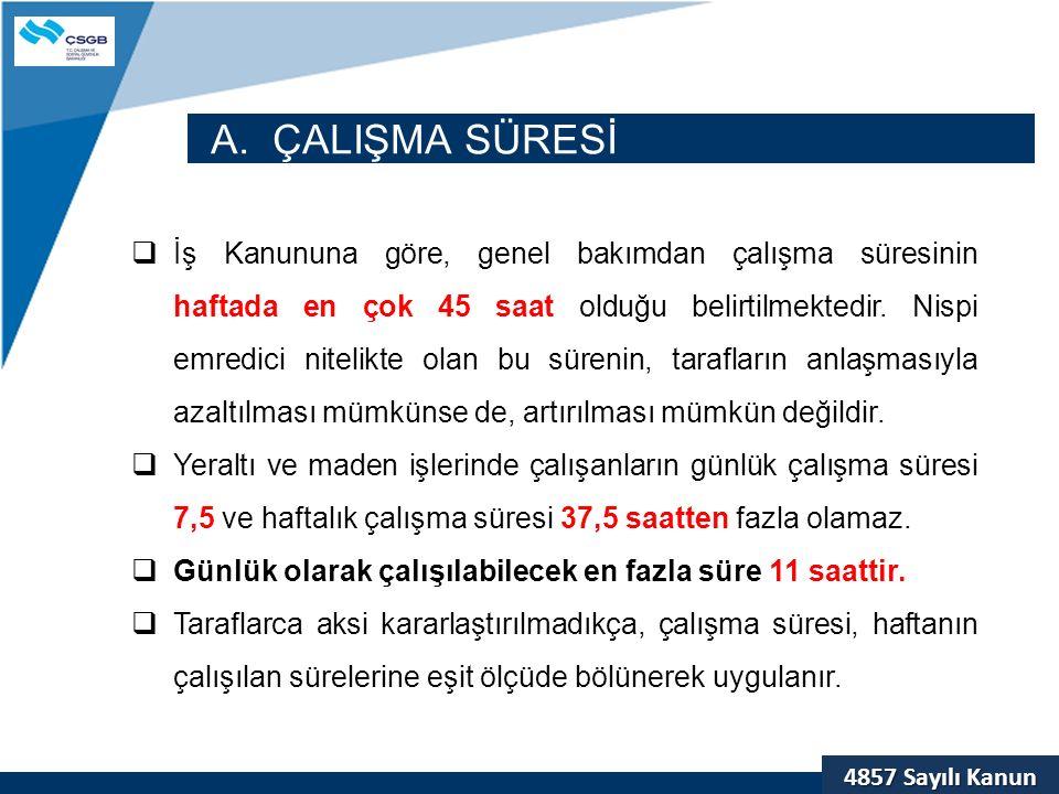 A. ÇALIŞMA SÜRESİ