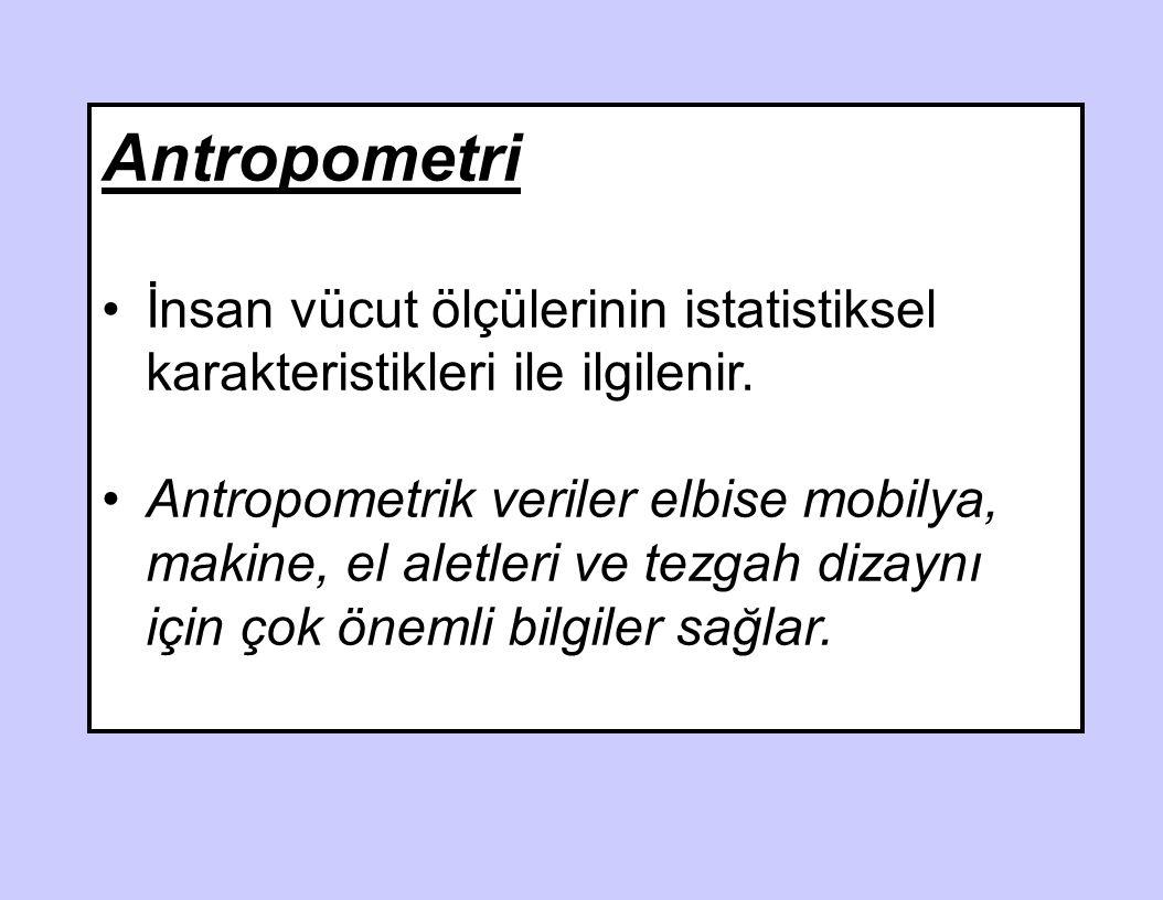 Antropometri İnsan vücut ölçülerinin istatistiksel karakteristikleri ile ilgilenir.
