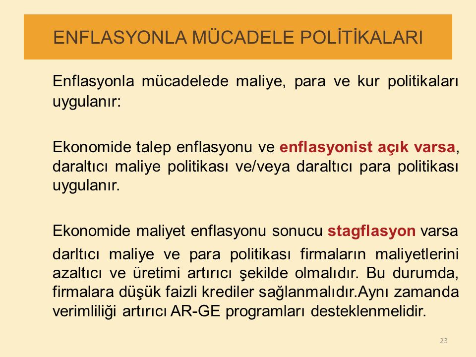 ENFLASYONLA MÜCADELE POLİTİKALARI