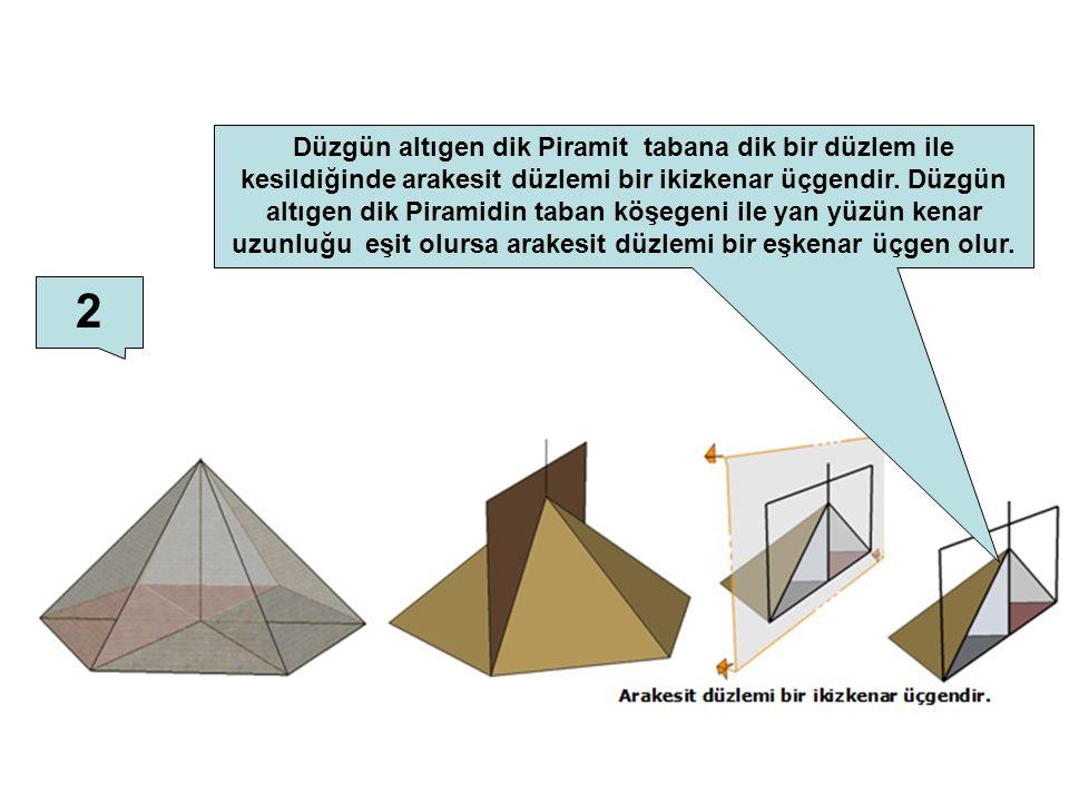Düzgün altıgen dik Piramit tabana dik bir düzlem ile kesildiğinde arakesit düzlemi bir ikizkenar üçgendir. Düzgün altıgen dik Piramidin taban köşegeni ile yan yüzün kenar uzunluğu eşit olursa arakesit düzlemi bir eşkenar üçgen olur.
