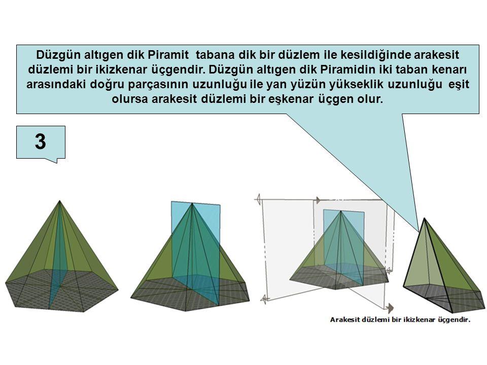 Düzgün altıgen dik Piramit tabana dik bir düzlem ile kesildiğinde arakesit düzlemi bir ikizkenar üçgendir. Düzgün altıgen dik Piramidin iki taban kenarı arasındaki doğru parçasının uzunluğu ile yan yüzün yükseklik uzunluğu eşit olursa arakesit düzlemi bir eşkenar üçgen olur.