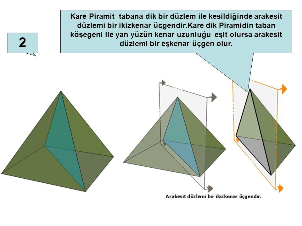Kare Piramit tabana dik bir düzlem ile kesildiğinde arakesit düzlemi bir ikizkenar üçgendir.Kare dik Piramidin taban köşegeni ile yan yüzün kenar uzunluğu eşit olursa arakesit düzlemi bir eşkenar üçgen olur.