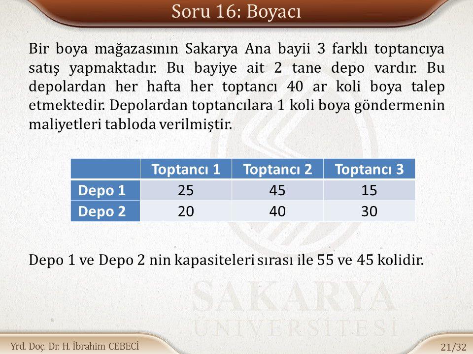 Soru 16: Boyacı Toptancı 1 Toptancı 2 Toptancı 3 Depo 1 25 45 15