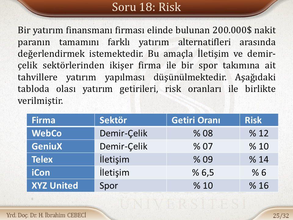 Soru 18: Risk Firma Sektör Getiri Oranı Risk WebCo Demir-Çelik % 08