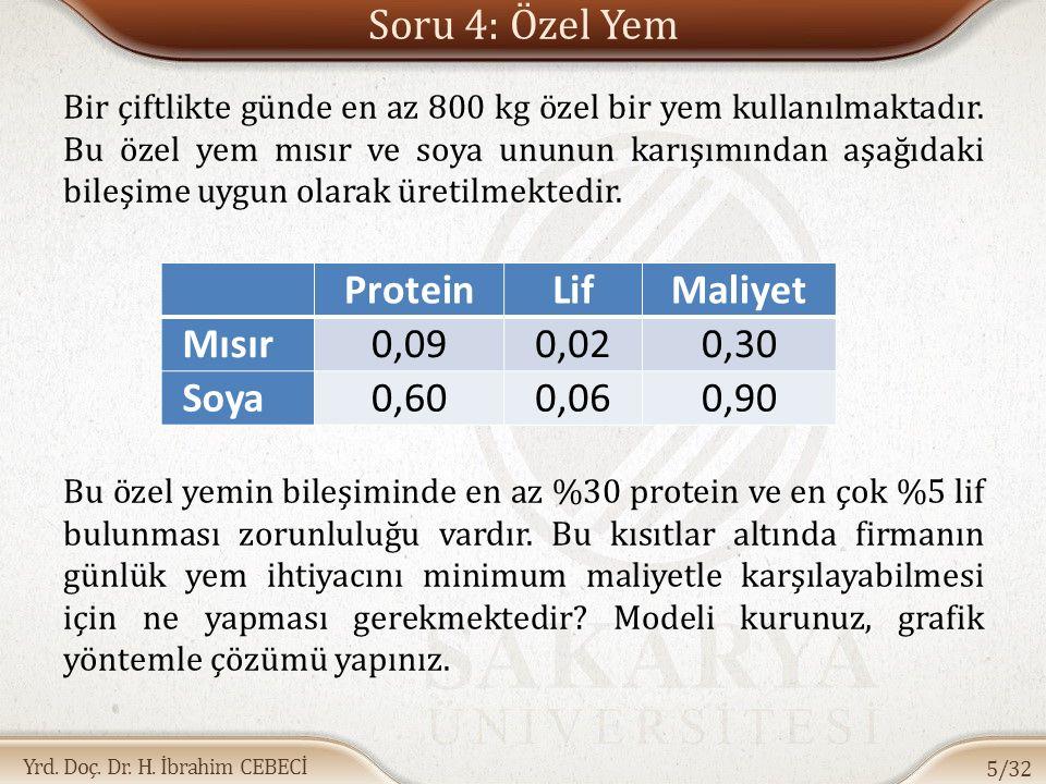 Soru 4: Özel Yem Protein Lif Maliyet Mısır 0,09 0,02 0,30 Soya 0,60