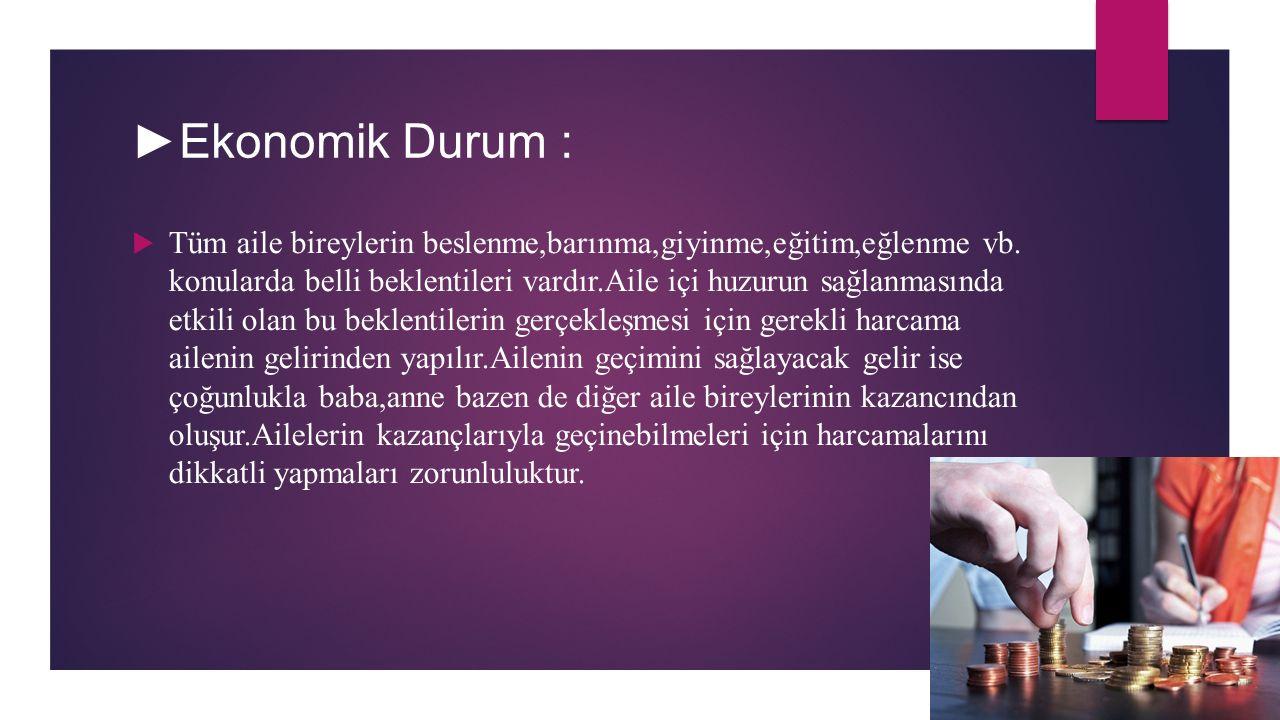 ►Ekonomik Durum :