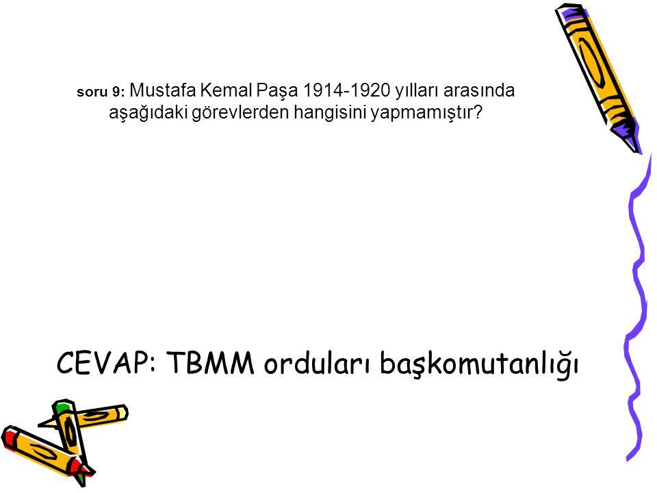 CEVAP: TBMM orduları başkomutanlığı