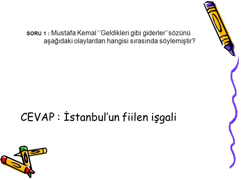 CEVAP : İstanbul'un fiilen işgali