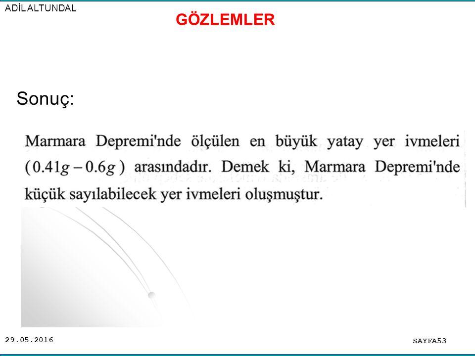 ADİL ALTUNDAL GÖZLEMLER Sonuç: