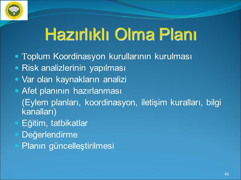 Hazırlıklı Olma Planı Toplum Koordinasyon kurullarının kurulması
