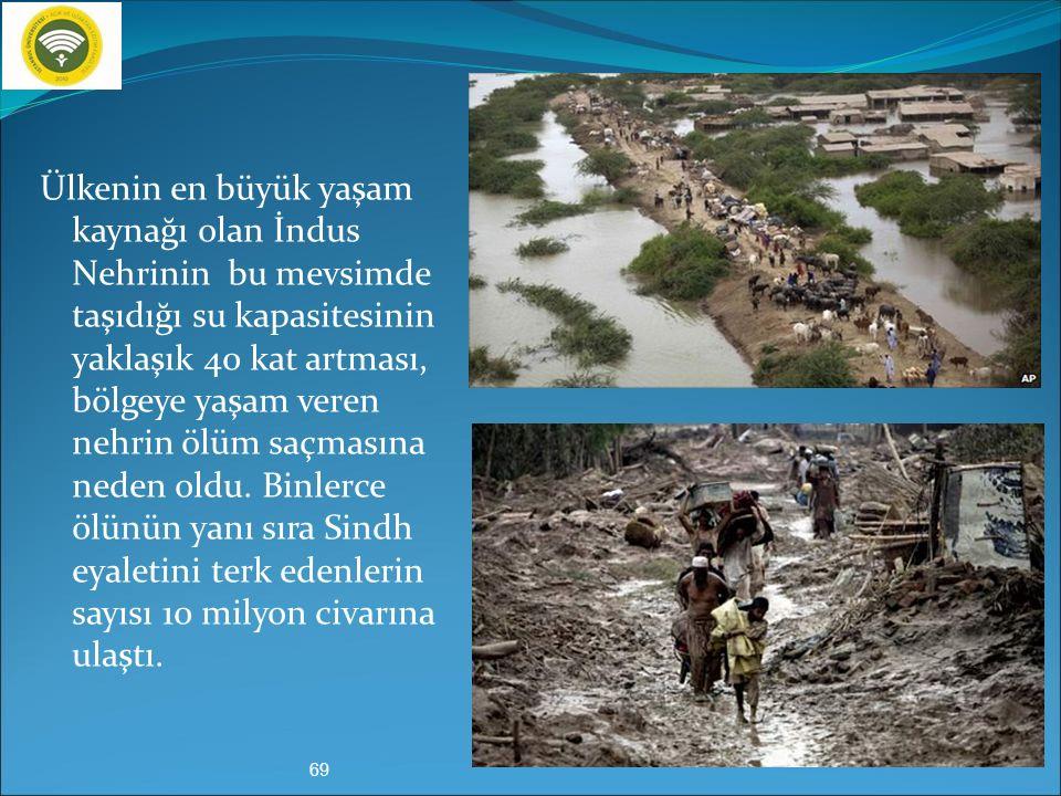 Ülkenin en büyük yaşam kaynağı olan İndus Nehrinin bu mevsimde taşıdığı su kapasitesinin yaklaşık 40 kat artması, bölgeye yaşam veren nehrin ölüm saçmasına neden oldu.