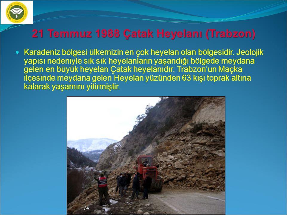 21 Temmuz 1988 Çatak Heyelanı (Trabzon)