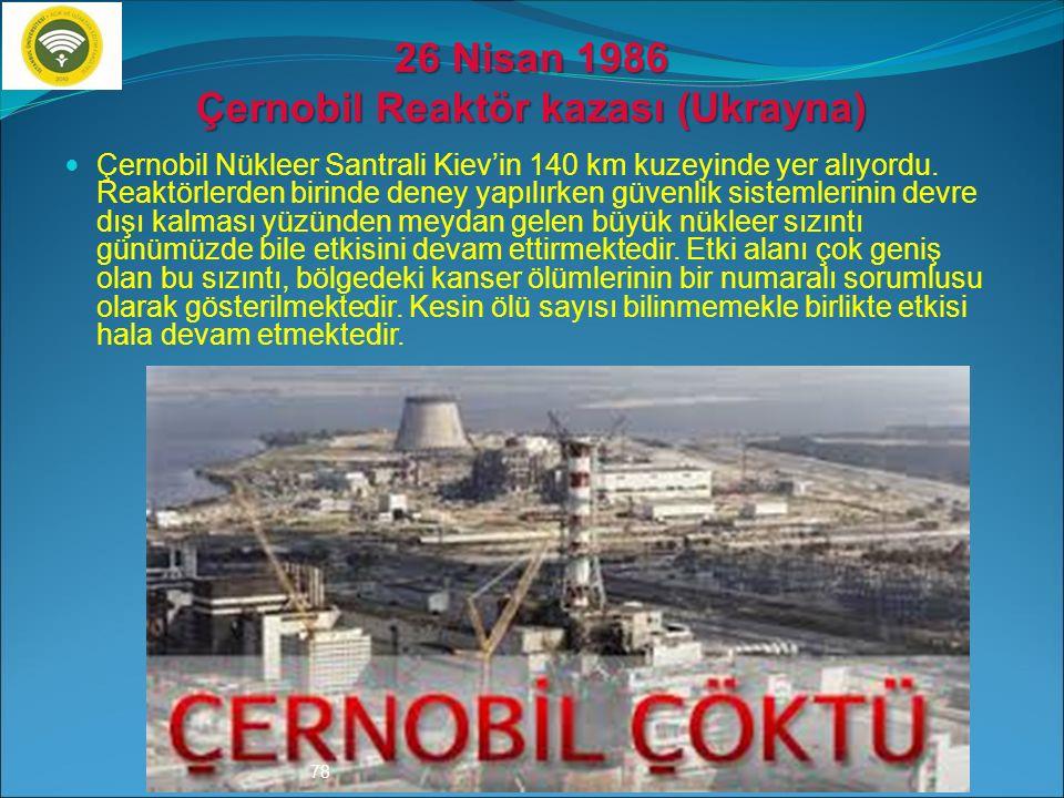 26 Nisan 1986 Çernobil Reaktör kazası (Ukrayna)
