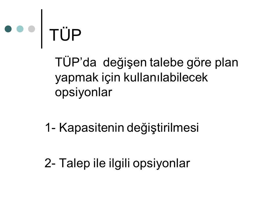 TÜP TÜP'da değişen talebe göre plan yapmak için kullanılabilecek opsiyonlar. 1- Kapasitenin değiştirilmesi.