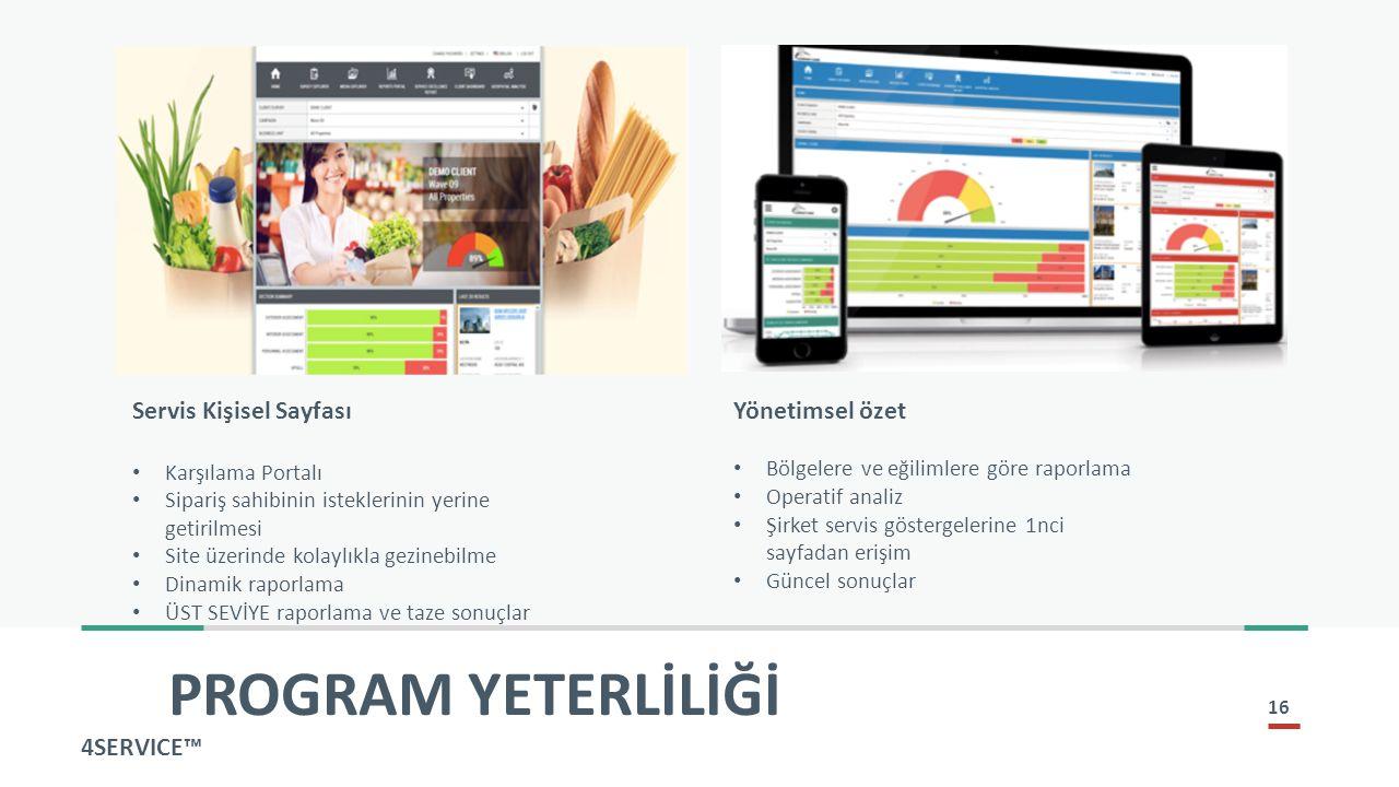 PROGRAM YETERLİLİĞİ Servis Kişisel Sayfası Yönetimsel özet 4SERVICE™