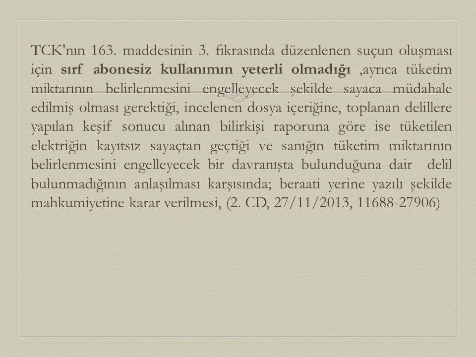 TCK nın 163. maddesinin 3.