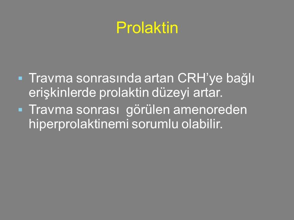 16161616 Prolaktin. Travma sonrasında artan CRH'ye bağlı erişkinlerde prolaktin düzeyi artar.