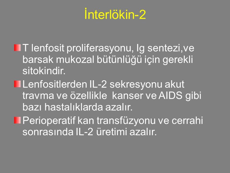25252525 İnterlökin-2. T lenfosit proliferasyonu, Ig sentezi,ve barsak mukozal bütünlüğü için gerekli sitokindir.