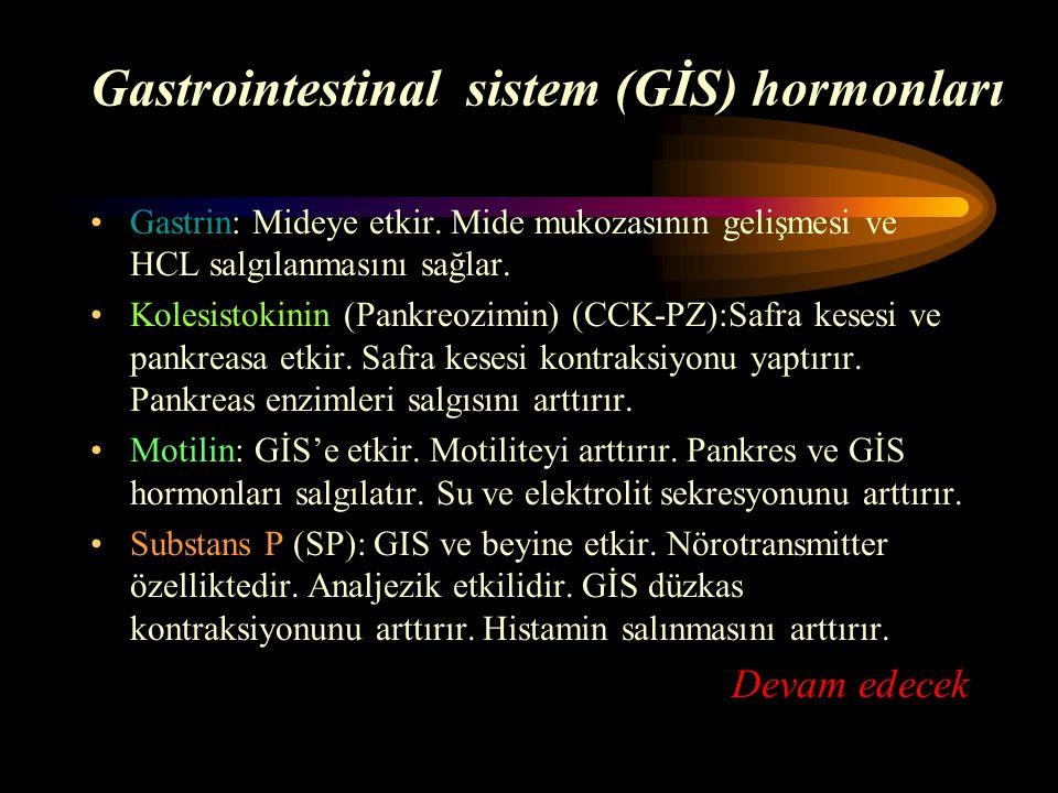 Gastrointestinal sistem (GİS) hormonları