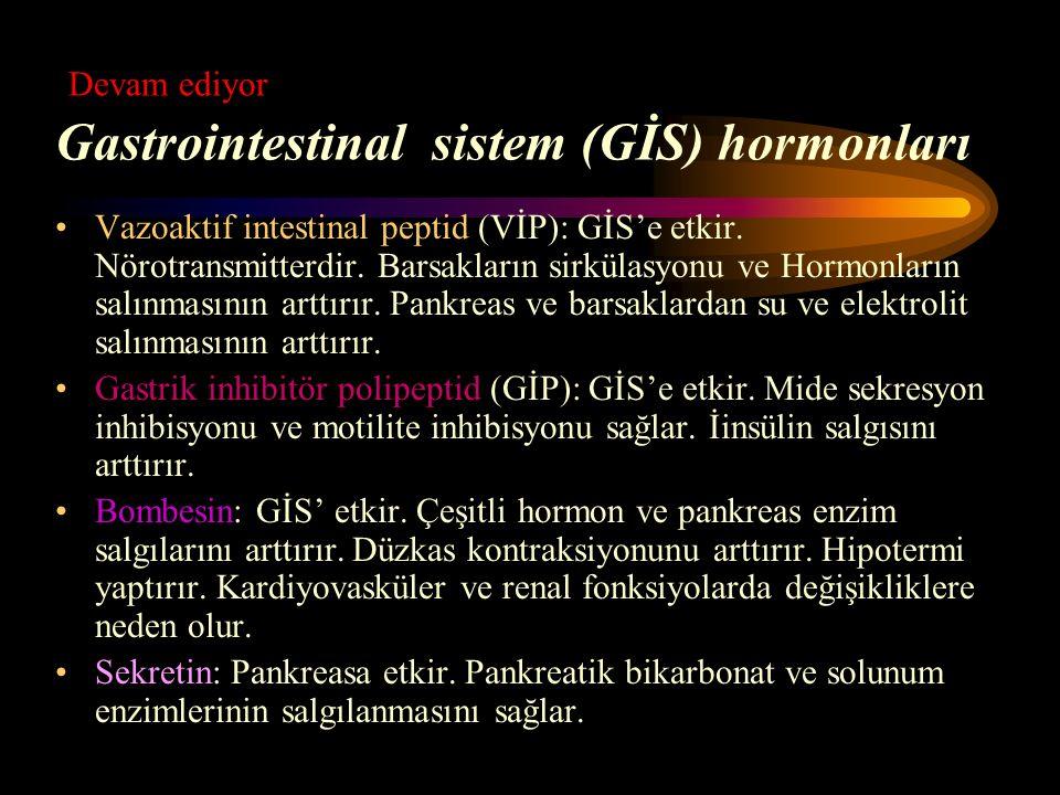 Devam ediyor Gastrointestinal sistem (GİS) hormonları